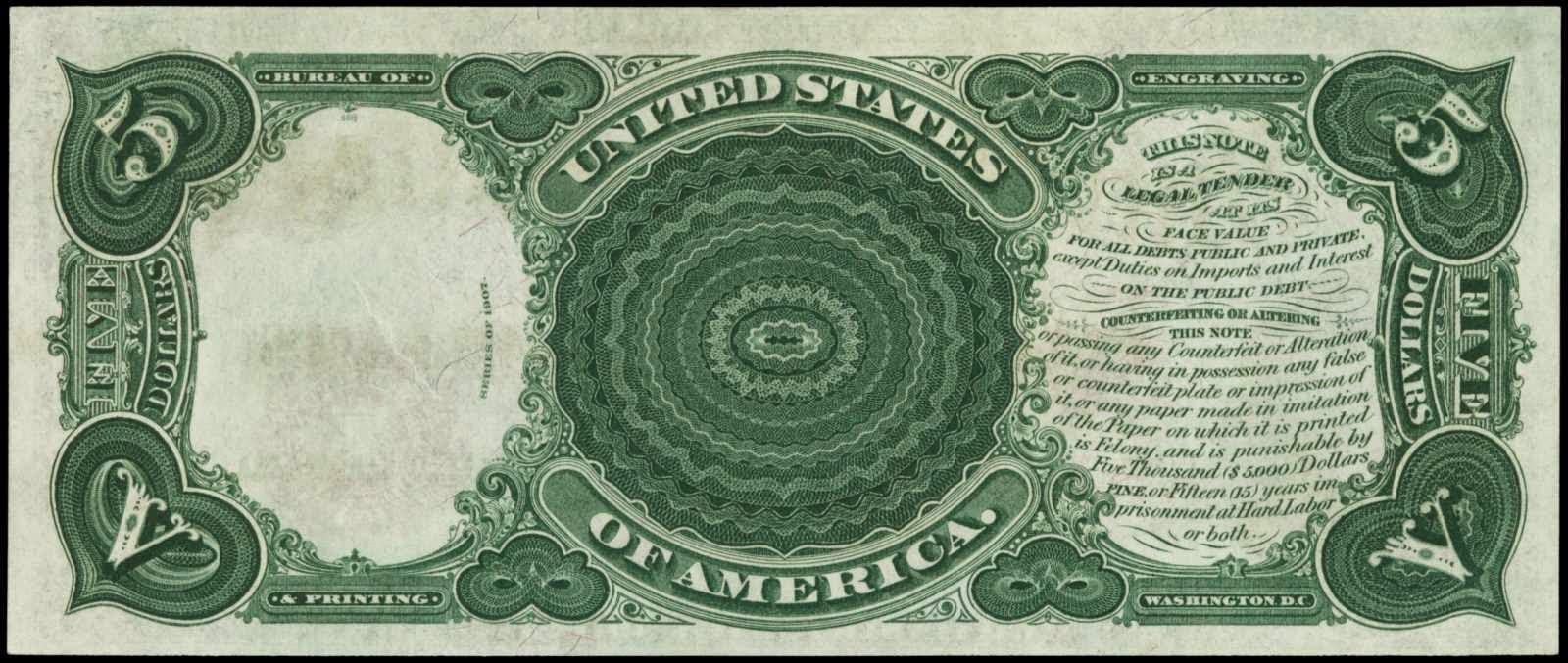 1907 Five Dollar Legal Tender Bill
