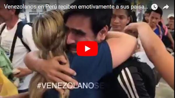 Venezolanos en Perú reciben emotivamente a sus paisanos refugiados