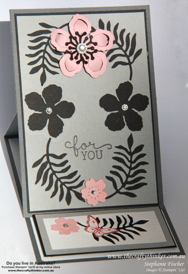SU, using negative spaces, botanical builder, bloomin' Heart, Easel Card, Fun Fold, Sympathy card