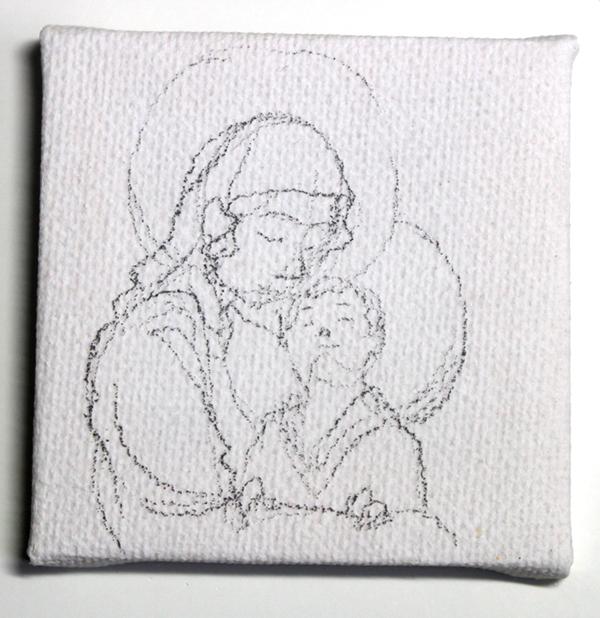 vierge à l'enfant miniature - crayonné