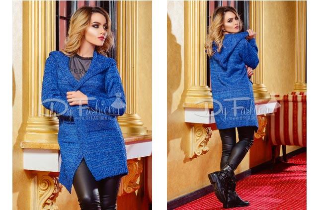 Cardigan modern la moda albastru cu gluga ieftin de toamna