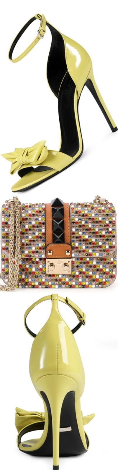 Gucci Clodine Patent Leather Sandal  Yellow