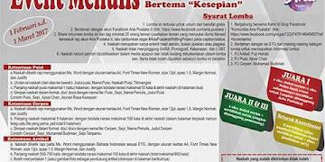 "Event Menulis Tema ""Kesepian"" Deadline 1 Maret 2017"