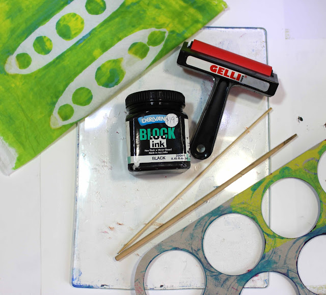 Tools for printing monoprinting, gelli plate, block ink, fabric