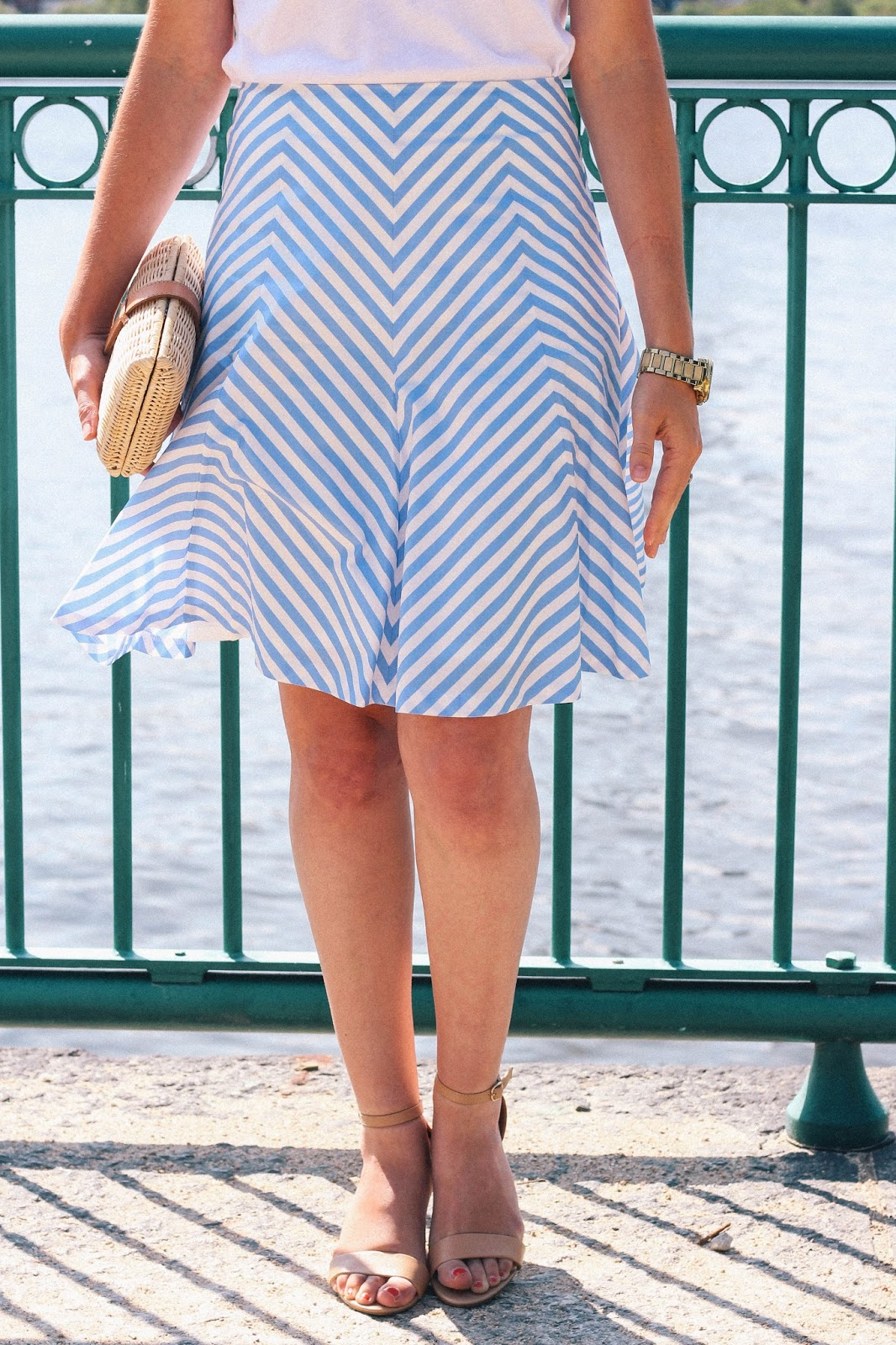 A beautiful summer day along the Charles River in the cutest striped flare skirt.