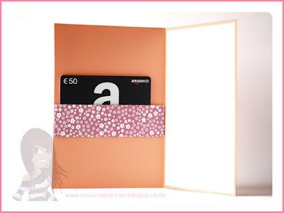 Stampin' Up! rosa Mädchen Kulmbach: Geburtstagskarte für Gutscheinkarte in Aquarelloptik mit Grüße rund ums Jahr