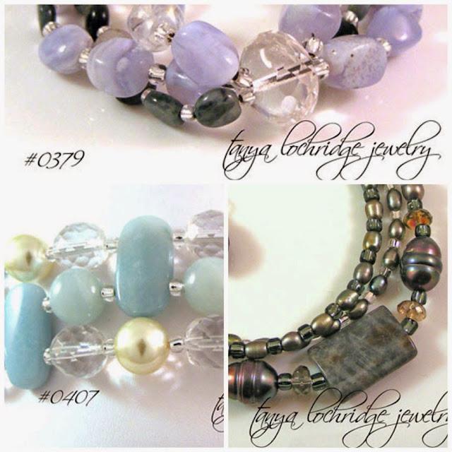 Tanya Lochridge Jewelry Blue Chalcedony & Eagle Eye Agate Gemstone Bracelet