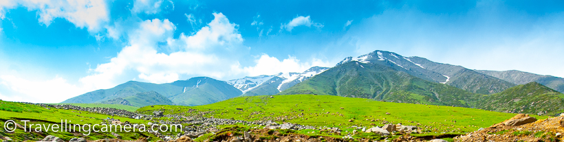 This post is sharing only the landscapes of green meadows and some of the hills full of snow. But the drive from Srinagar to Sinthan Pass offers you lot more than that. Foothills of Sinthan Pass on both sides have very beautiful villages full of wooden houses, which are usually seen in movies. All of those seemed old and most of the newer houses near road were all modern with concrete construction.