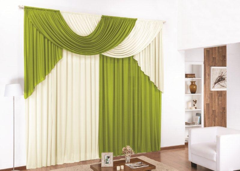 Green And White Modern Bedroom Curtains Designs For Luxury Interior