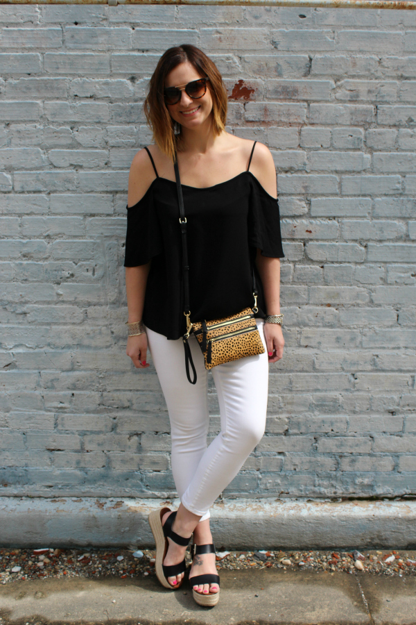 off the shoulder top, how to wear white denim, spring style, style on a budget