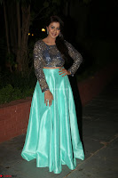 Nikki Galrani in Green Skirt  Top at Marakathamani music launch ~  Exclusive (6).JPG
