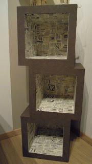 mueble esquinero hecho de carton