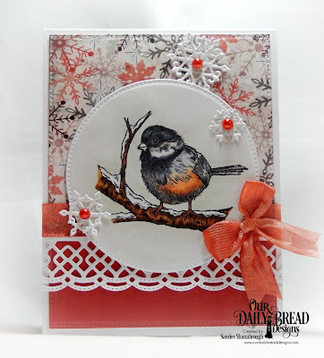 Our Daily Bread Designs Stamp Set: Winter Chickadee, Custom Dies: Pierced Rectangles, Pierced Circles, Beautiful Borders, Snow Crystals, Paper Collection: Christmas 2017