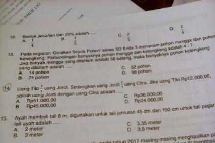 Soal Matematika SD yang Sulit Bagi Guru (2)
