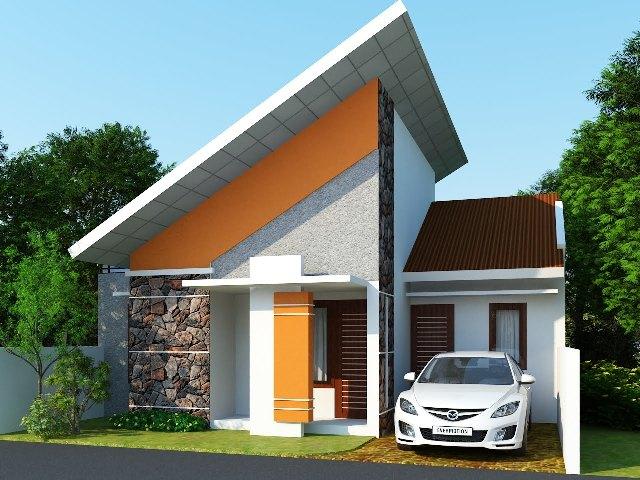 Desain Rumah Minimalis Satu Lantai dengan Atap Unik