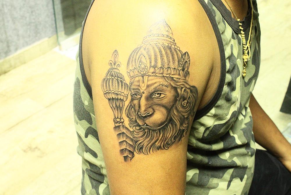 7d63682cf Lord Hanuman Tattoo & Its Meanings | Black Poison Tattoos
