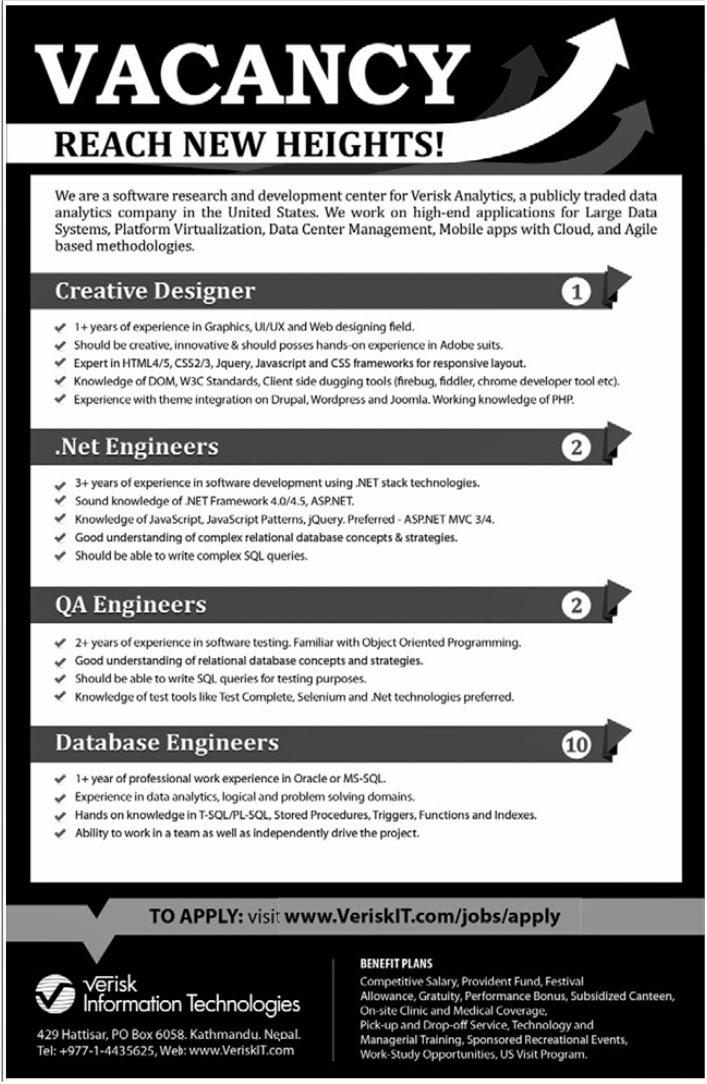 Various Engineering Positions Vacancy @ Verisk Information