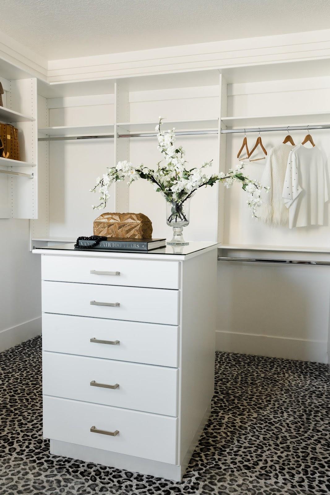 Master Closet, White Master Closet, Leopard Carpet