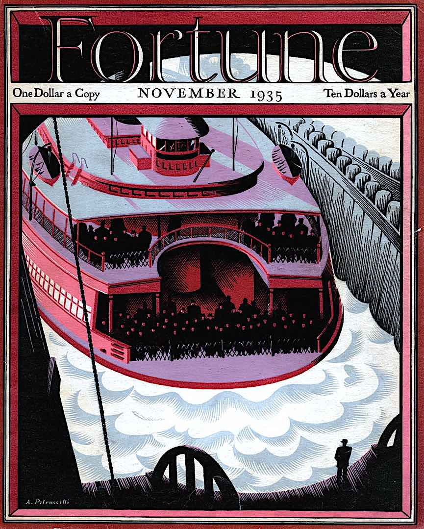 an Antonio Petruccelli illustration of a departing ferry for Fortune 1935