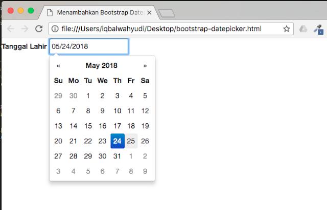 cara menambahkan bootstrap datepicker ke form input