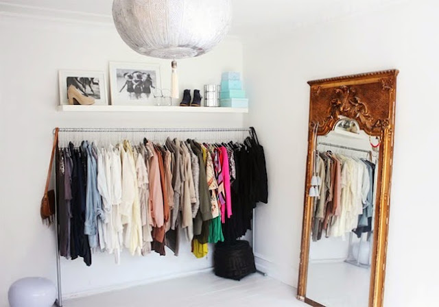 open closet, clothing rack