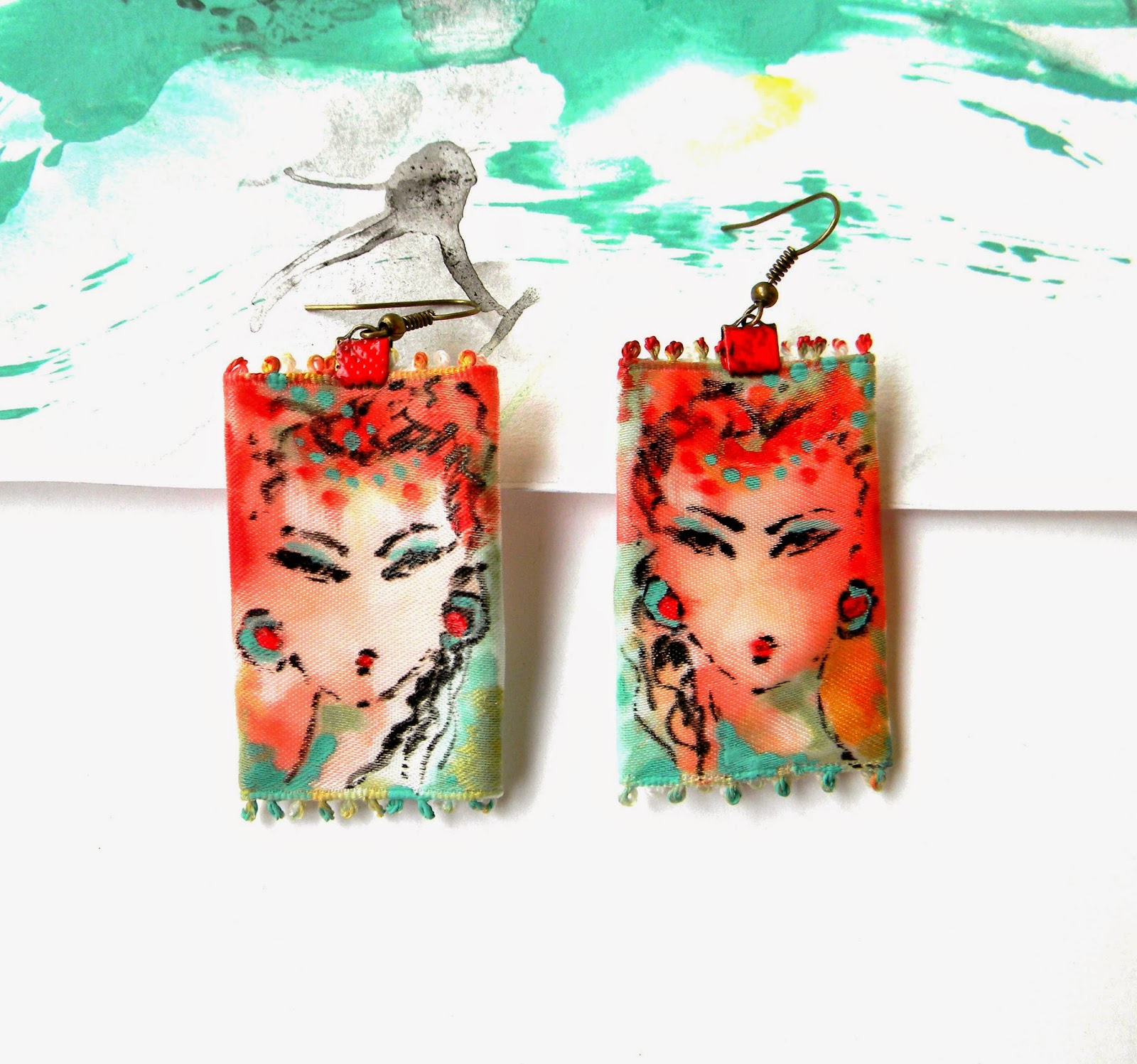 Textile Trim Earrings with Hand Painted Portraits, Original Fine Art Jewelry