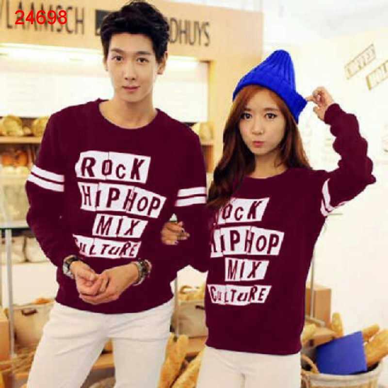 Jual Sweater Couple Sweater Rock Hip Hop Maroon - 24698