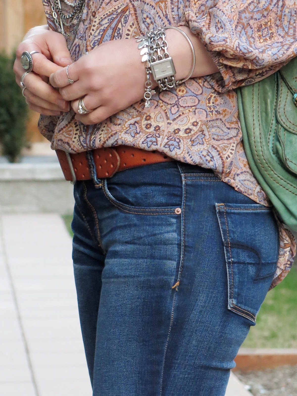 jeans, AEO perforated belt, paisley blouse