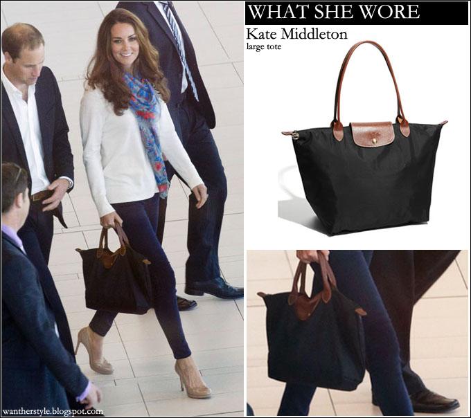 Longchamp Le Pliage Tote Kate Middleton Wore It With