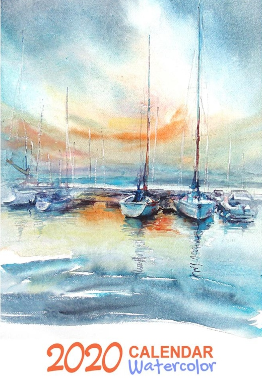 Coastal Art Watercolors Wall Calendar 2020