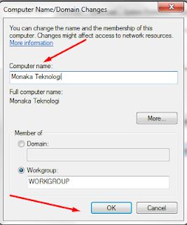 ganti nama komputer dan tekan Ok