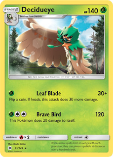 Decidueye Sun and Moon Pokemon Card