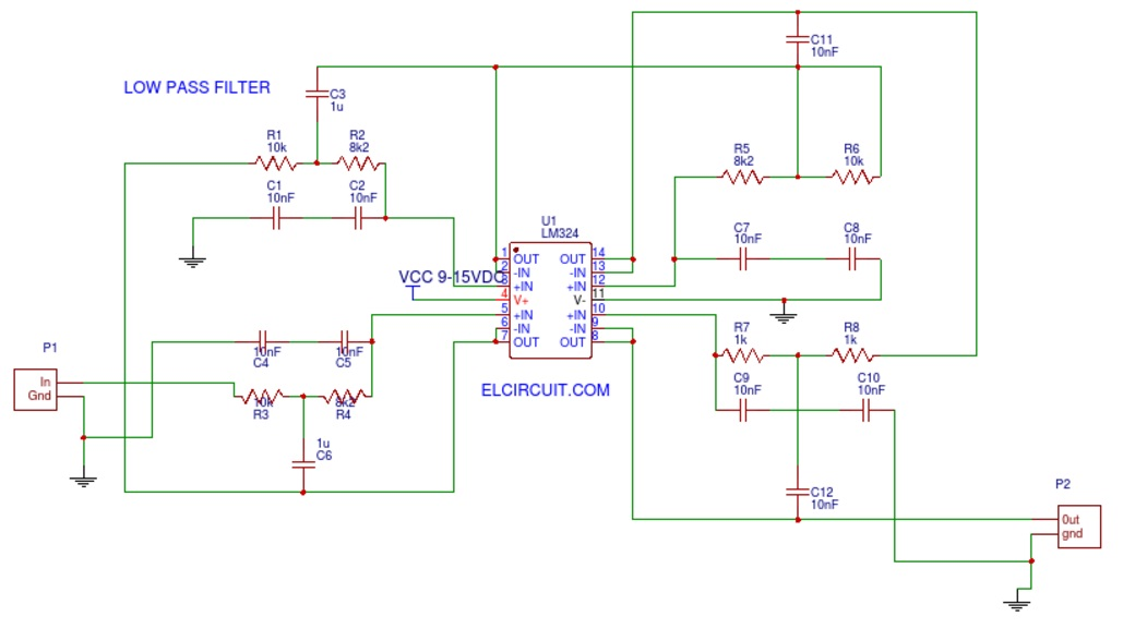 Audio Low Pass Filter LM324 - Electronic Circuit