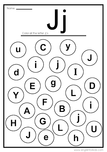 Find letter j worksheet -- printable ESL materials to teach English alphabet
