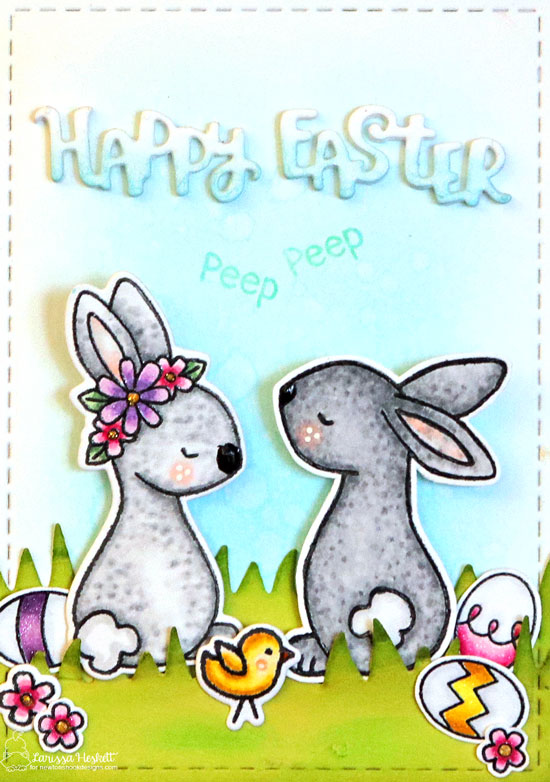 Happy Easter Card by Larissa Heskett | Bitty Bunnies Stamp Set and Argyle and Plaid Stencil Sets by Newton's Nook Designs #newtonsnook #handmade