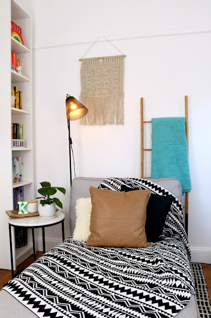 Hygge Winter Boho Home Styling Inspiration – Aztec Bohemian Theme for Bedroom, Living Room Home Office on a Budget - IKEA Kivik Chaise Styling Macrame Wall Hanging
