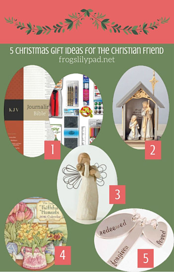 Buying Christmas gifts can be hard. 5 Gift Ideas for the Christian Friend should help while holiday shopping. frogslilypad.net