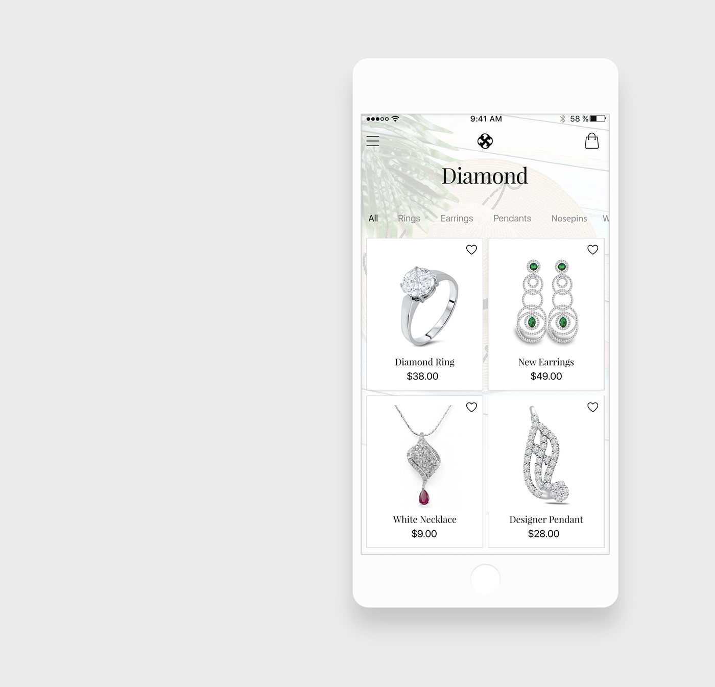 Jewellery App categories
