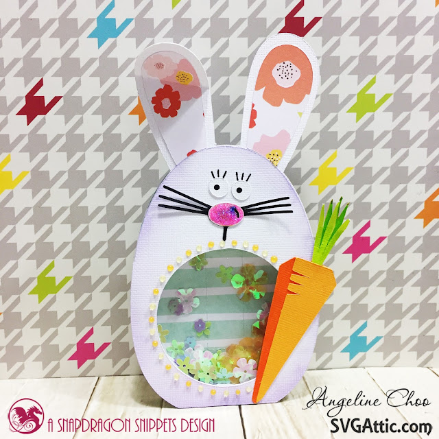 ScrappyScrappy: Easter Bunny shaker card with SVG Attic #svgattic #scrappyscrappy #jgwbunnyrace #easter #card #cardmaking #papercraft #shakercard #nuvojeweldrop #glitter
