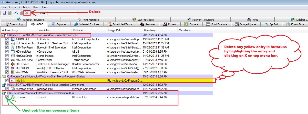 Autoruns By sysinternals-to remove pop-ups generating adware