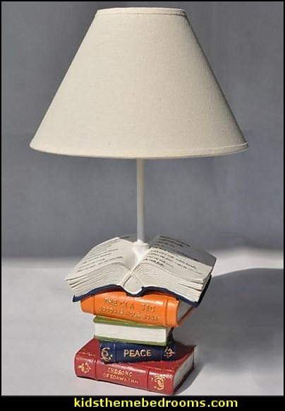 Piled Books Style Resin Table Lamp   book themed decor - Bibliophiles decor - Book themed furnishings - home decor for book lovers - book themed bedroom - Stacked Books decor - Stacked Books furniture - bookworm decor - book boxes - library furniture - formal study furniture - antique book decor - unique furniture - novelty furniture - Logophile decor - scrabble themed bedroom  - scrabble wall decorations - Crossword bedroom decor