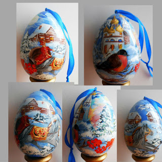 Christmas Egg in russian style winter in village