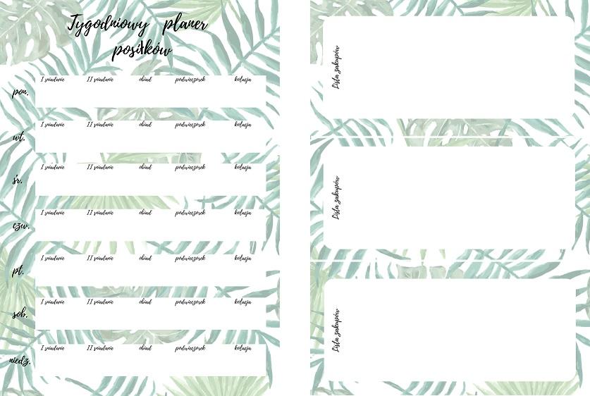 listy zakupowe do druku motyw botaniczny