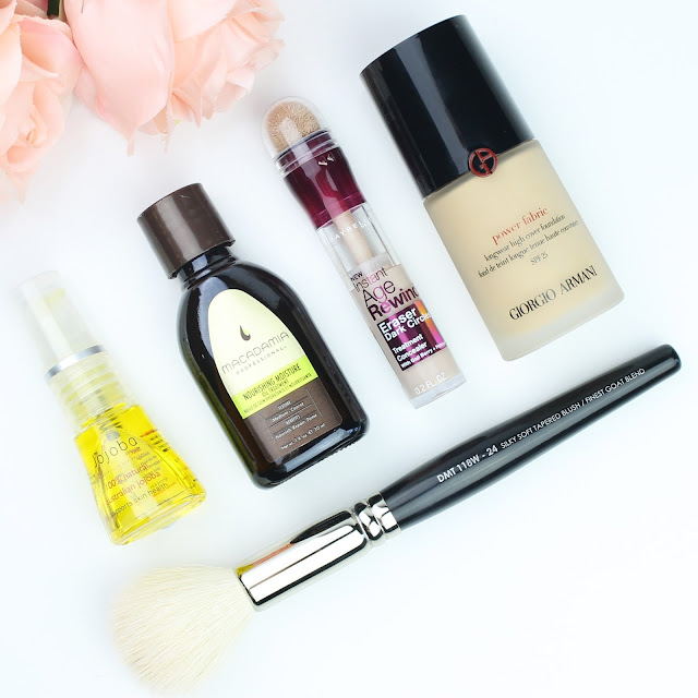 August Favourites Jojoba Company Oil Macadamia Professional Nourishing Moisture Oil Treatment Maybelline Instant Age Rewind Dark Circles Eraser Giorgio Armani Power Fabric Foundation Designer Makeup Tools Blush Brush review