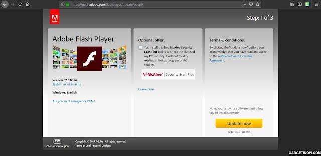 cara update adobe flash player