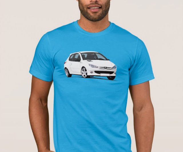 Peugeot 206 GTi  RC printed t-shirts - automobile