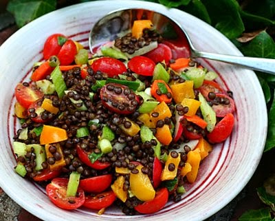 Summer Lentils, lots of vegetables stirred into moist and meaty lentils.