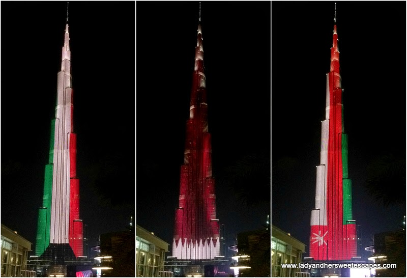 GCC flags in Burj Khalifa LED show 2