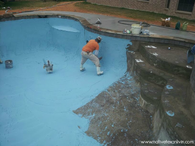 Informative step by step pool building process with pictures showing every phase