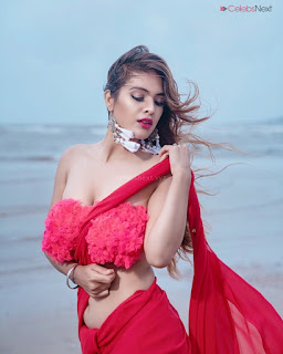 Neha Malik in Red Saree Amazing Beauty Stunning Red   .xyz Exclusive 009.jpg